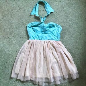 Strapless Tulle Cotton Candy dress w/ collar